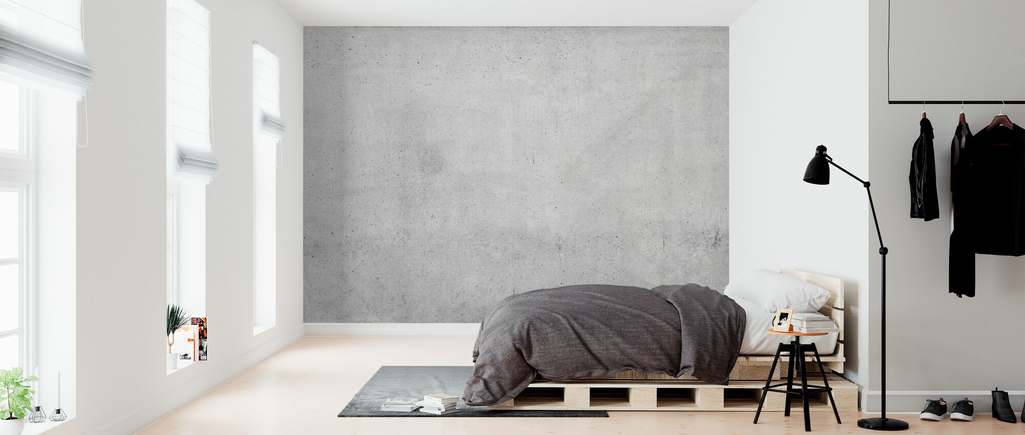 Exposed Concrete Wall - Wallpaper - Bedroom