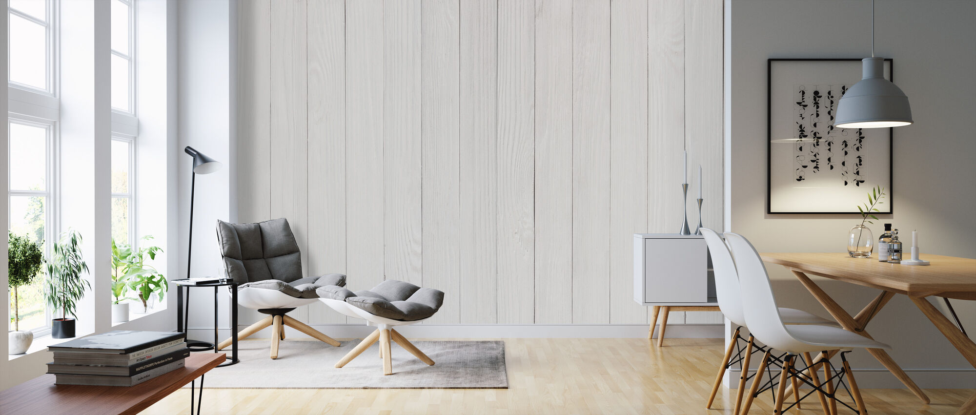 Wooden Table - Wallpaper - Living Room