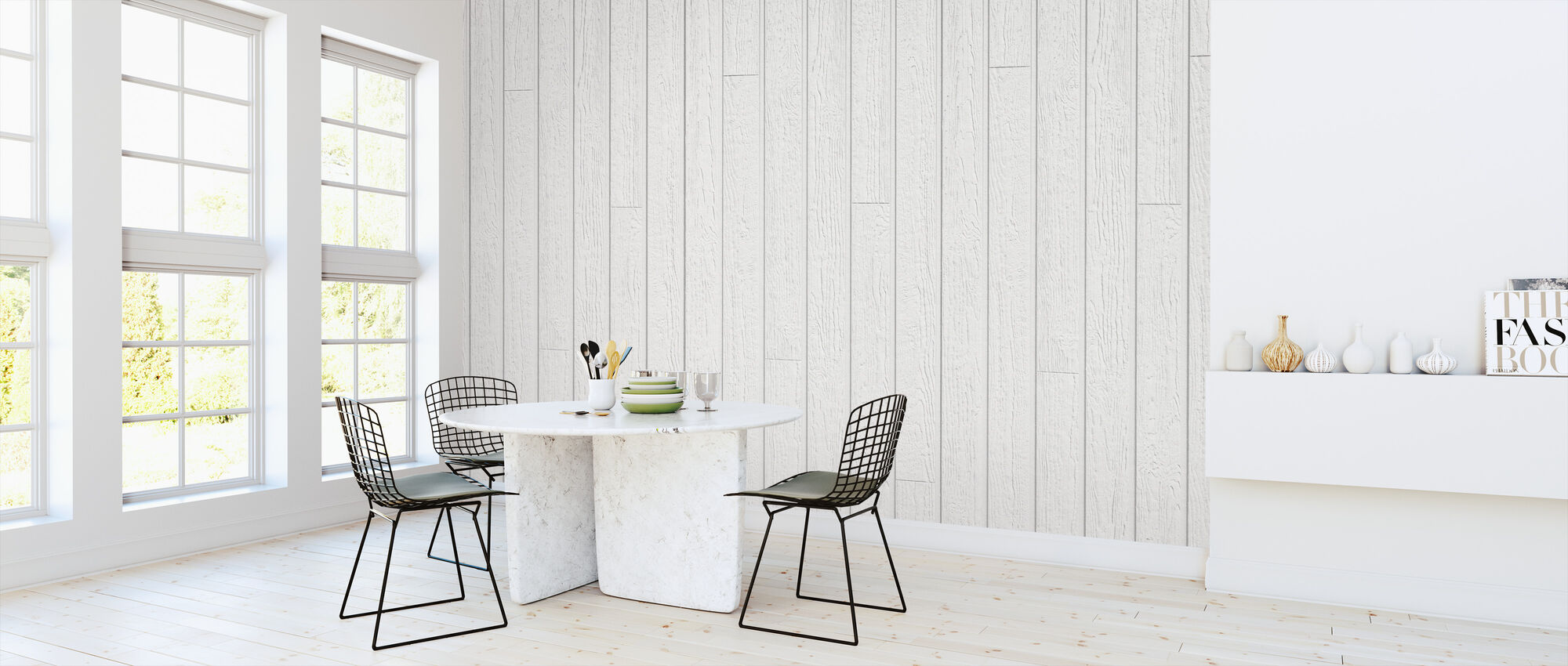 White Vintage Planks - Wallpaper - Kitchen
