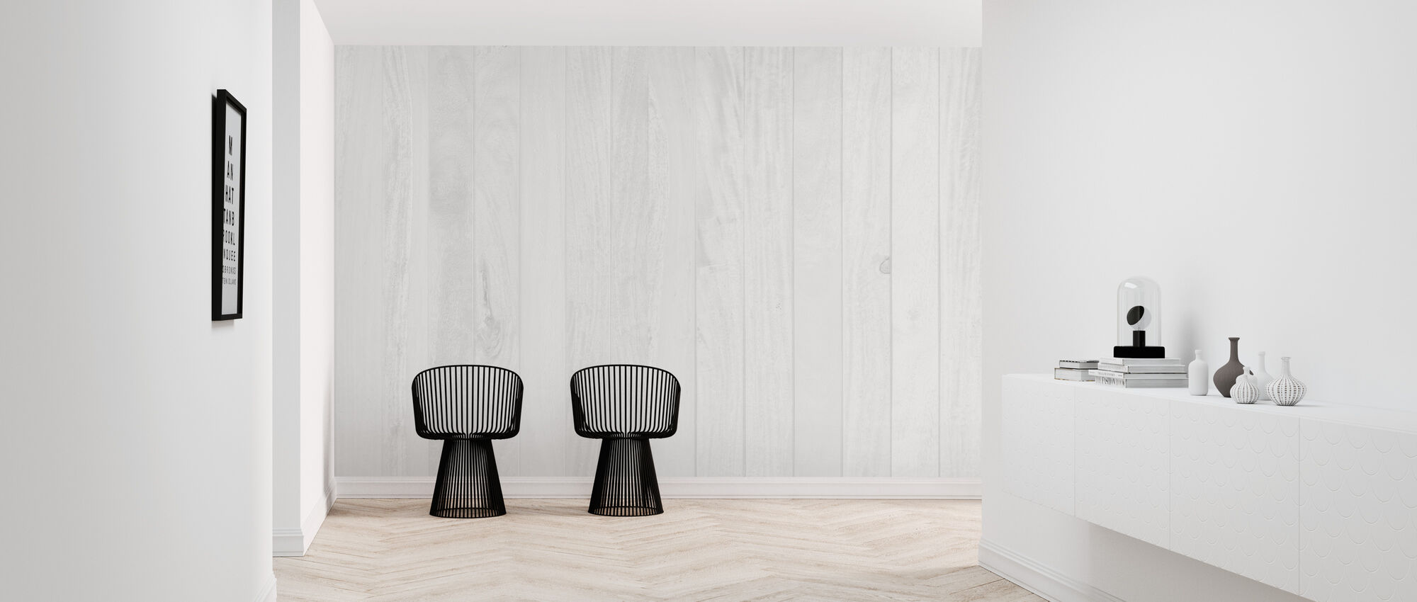 White Wooden Wall - Wallpaper - Hallway