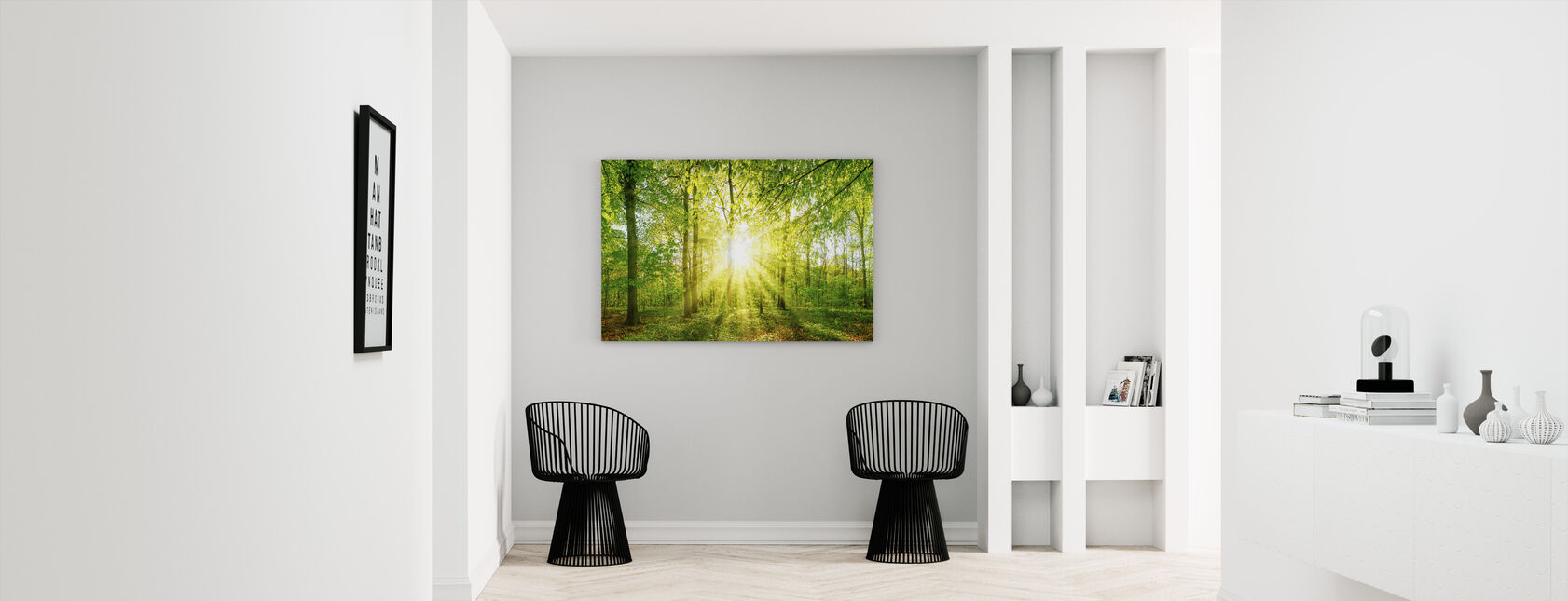 Sonnenuntergang Wald - Leinwandbild - Flur
