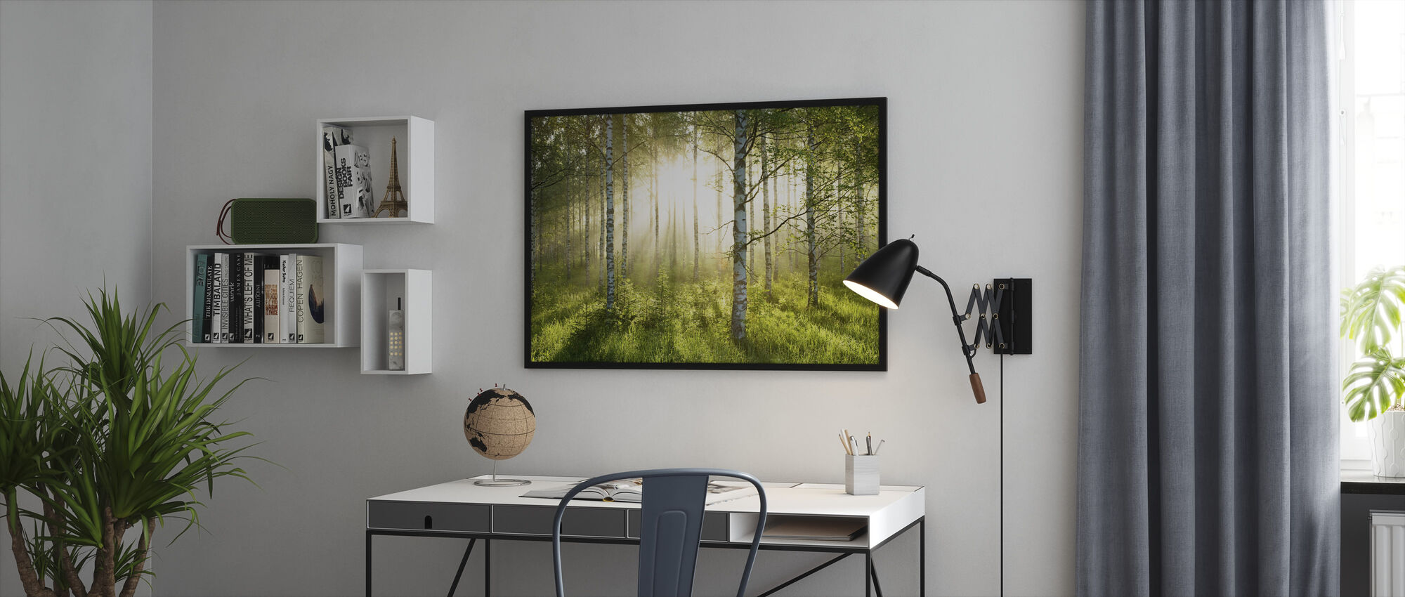 Birch Trees Forest - Framed print - Office