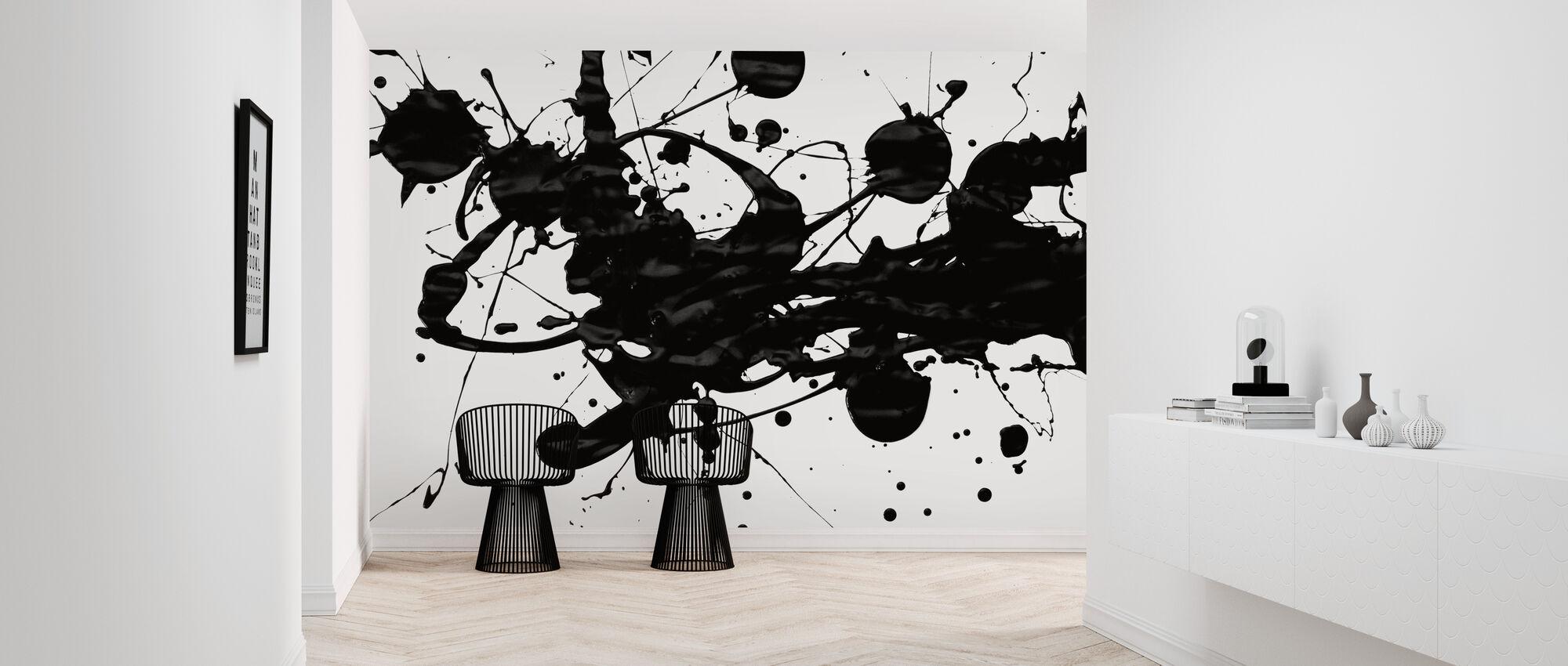 Schwarz Paint Splatter - Tapete - Flur
