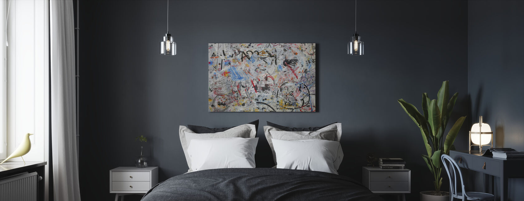 Grunge Graffiti Wall - Canvas print - Bedroom