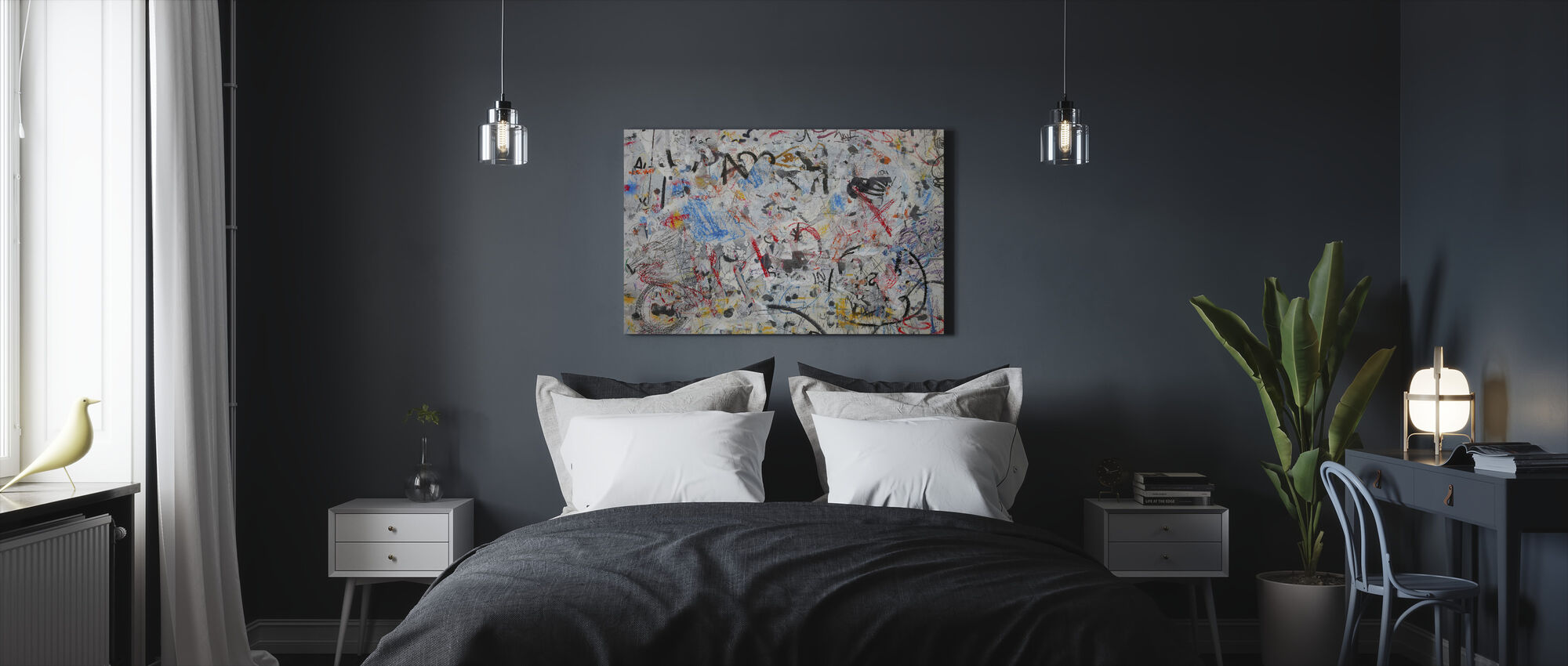 Grunge Graffiti Muur - Canvas print - Slaapkamer