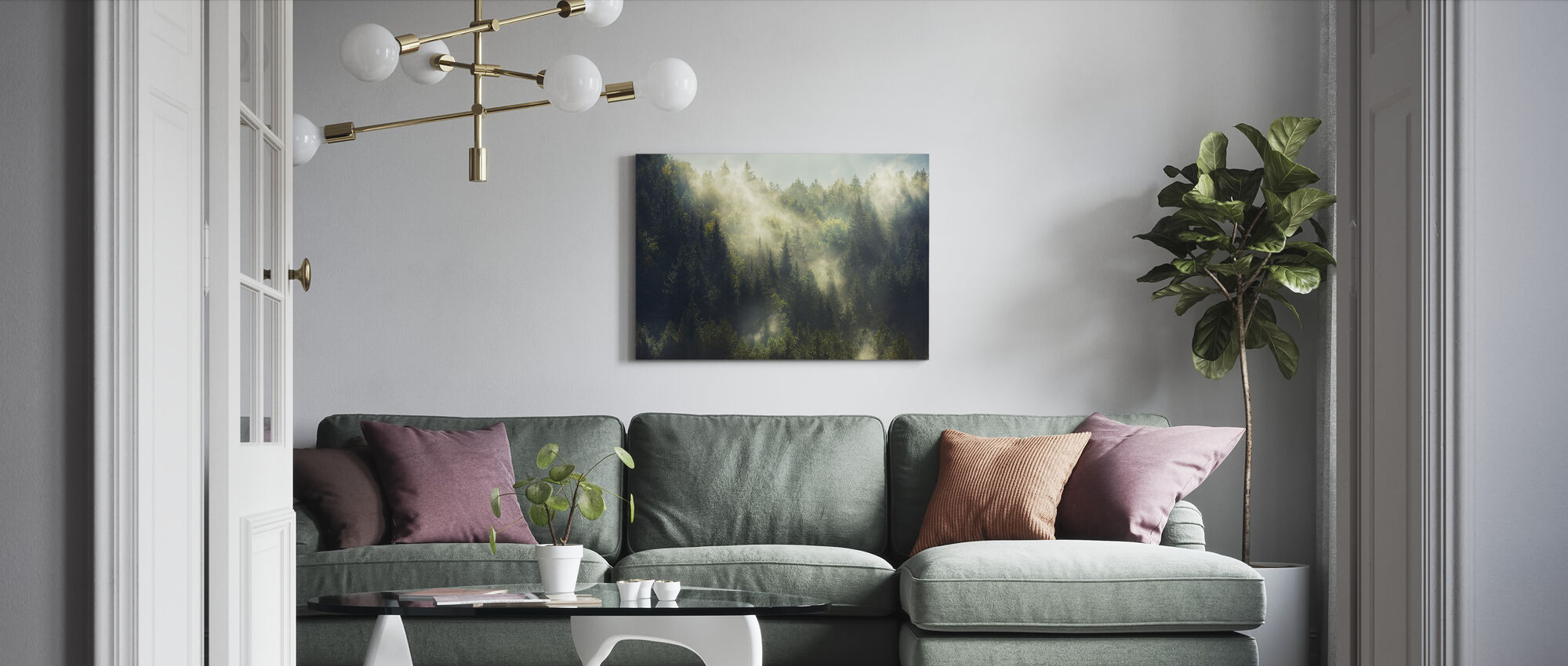 Misty Forest - Canvas print - Living Room