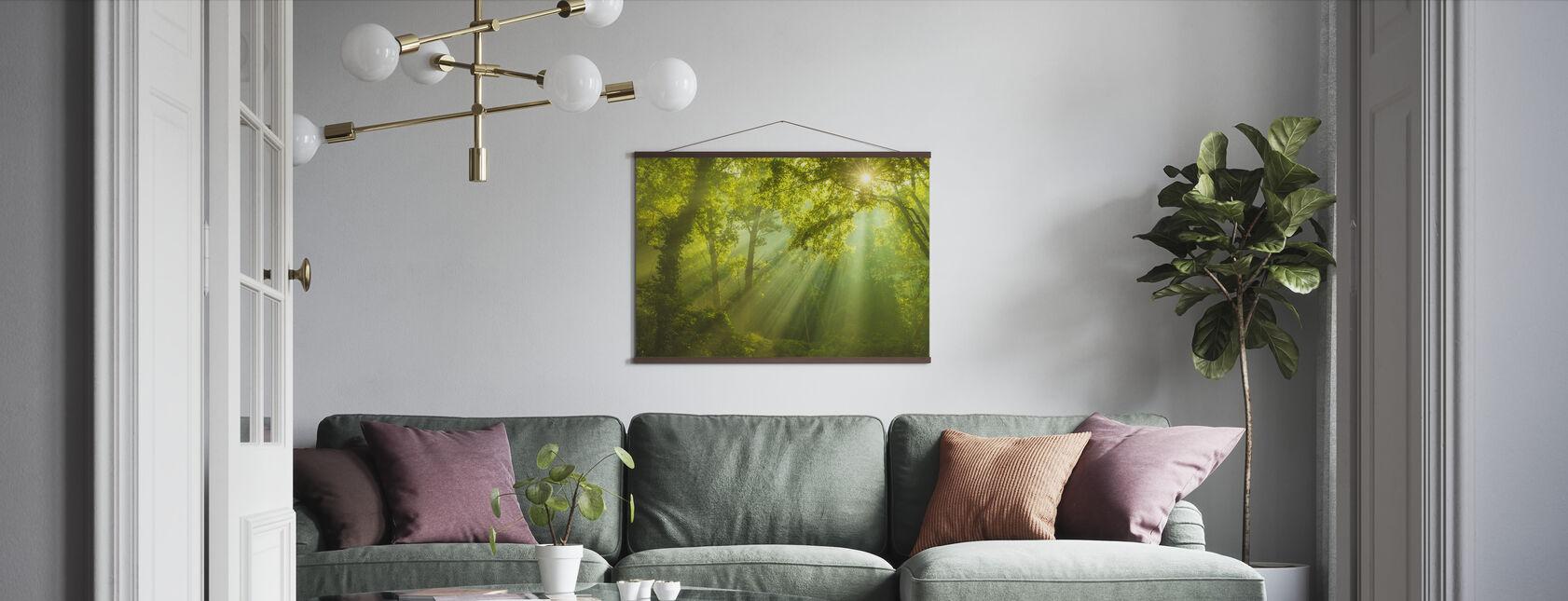 Groen Bos Zonlicht - Poster - Woonkamer