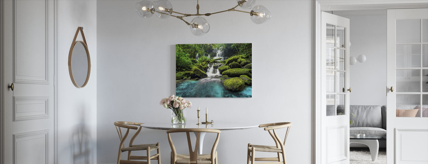 Green Forest Waterfall - Canvas print - Kitchen
