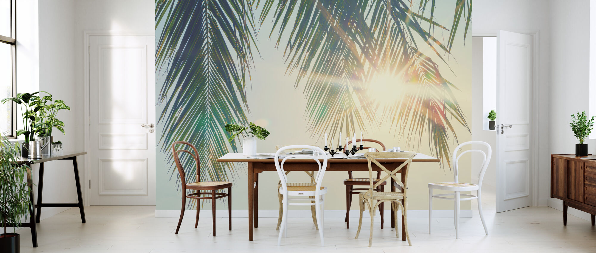 Palm Bladeren Zonsondergang - Behang - Keuken