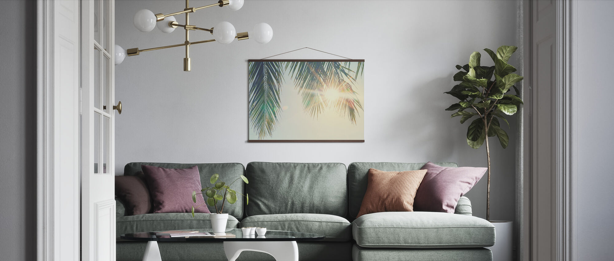 Palm blader solnedgang - Plakat - Stue
