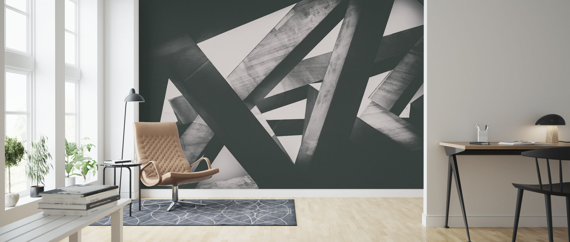 Concrete Pillars - Wallpaper - Living Room
