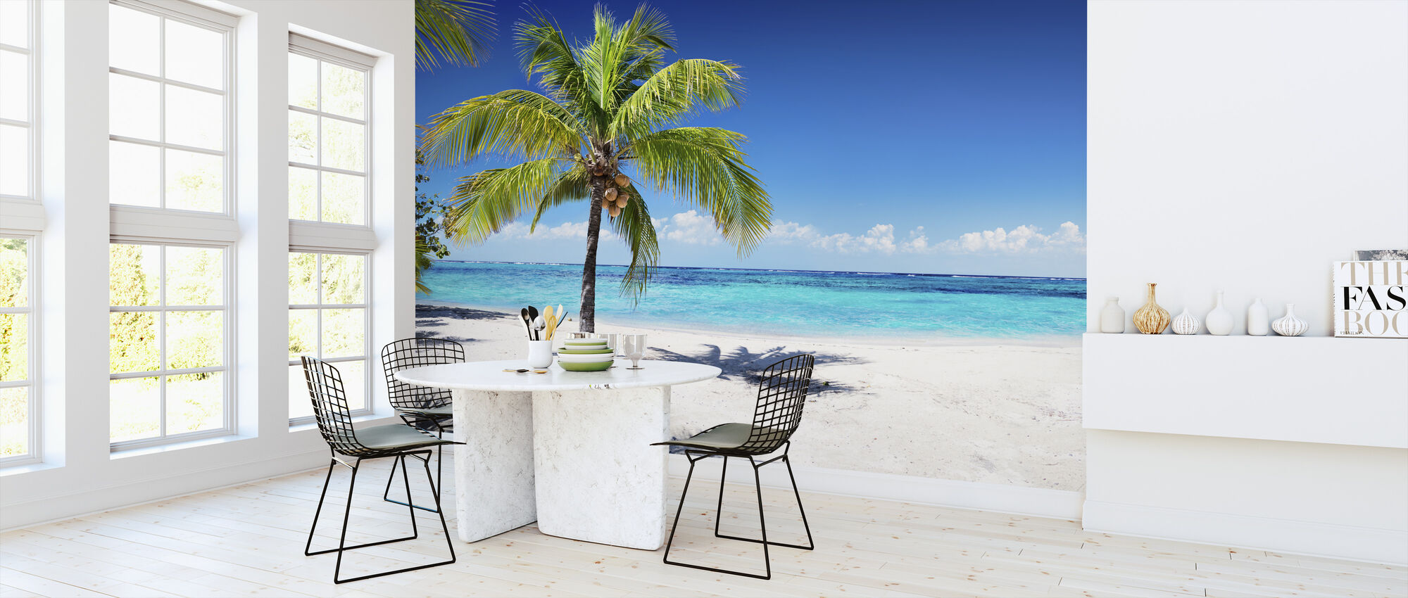 Coral Beach with Palm Tree - Wallpaper - Kitchen