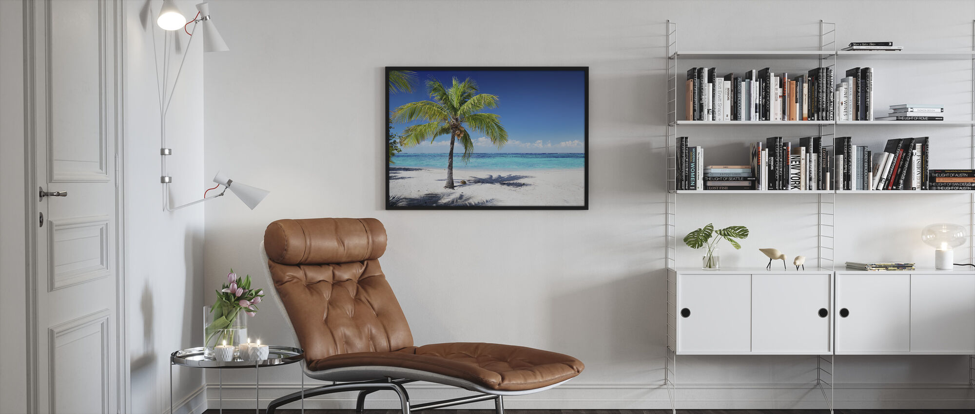 Coral Beach with Palm Tree - Framed print - Living Room