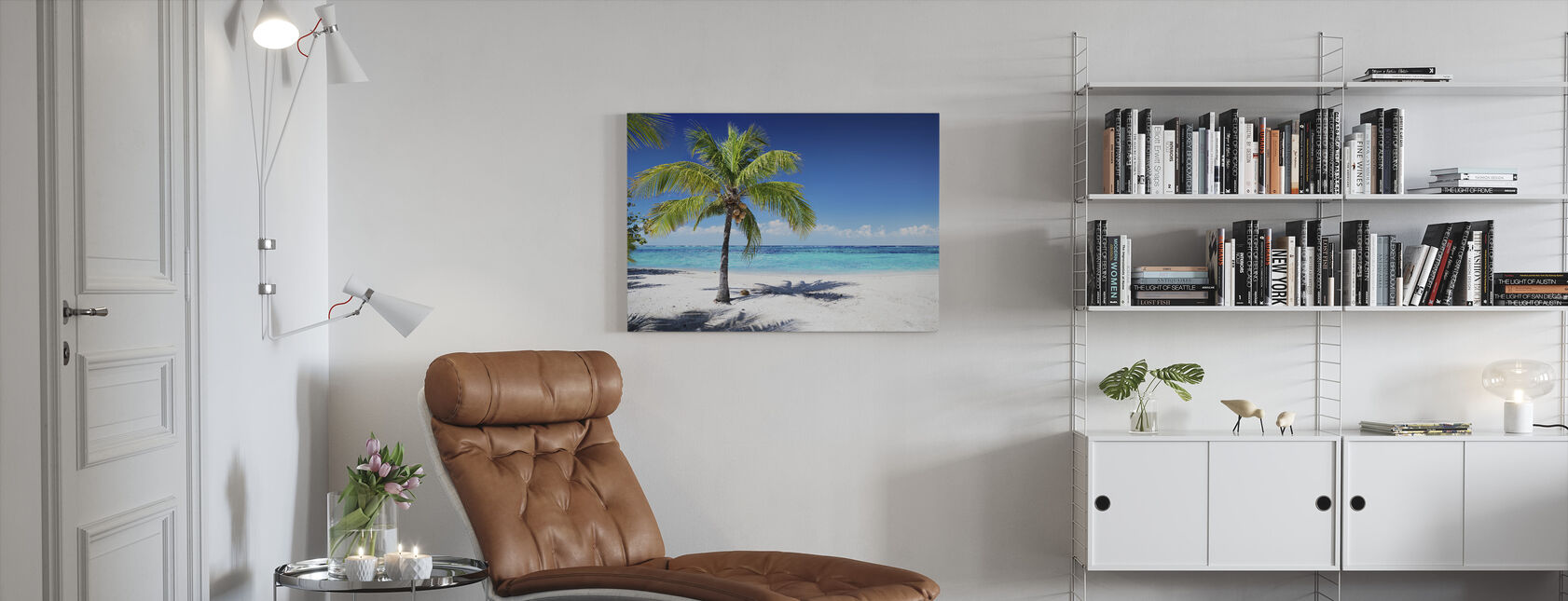 Coral Beach with Palm Tree - Canvas print - Living Room