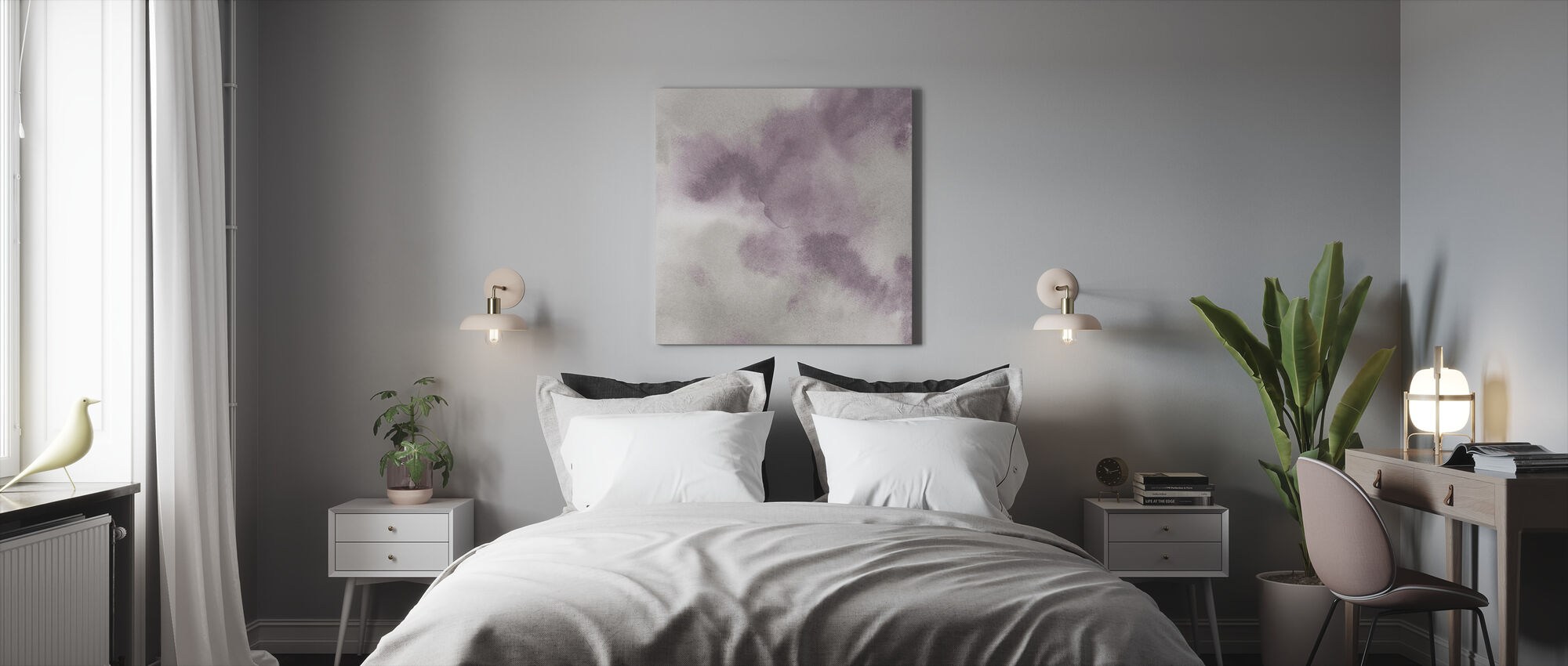 Mauve Indigo Flow - Canvas print - Bedroom