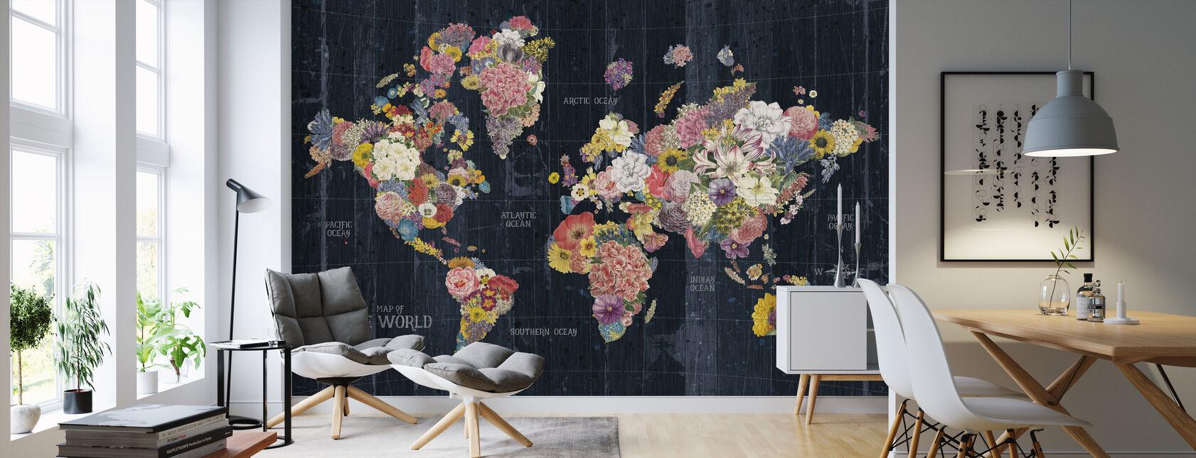 Botanical Floral Map Words - Wallpaper - Living Room