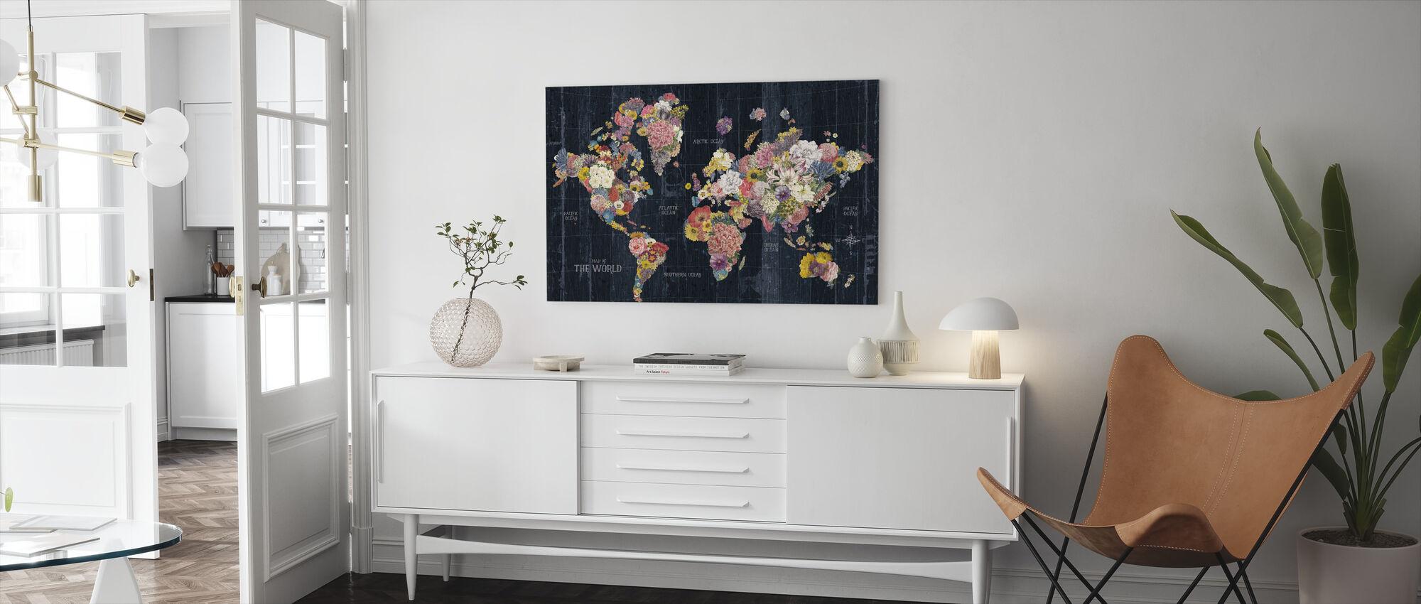 Mots de carte florale botanique - Impression sur toile - Salle à manger