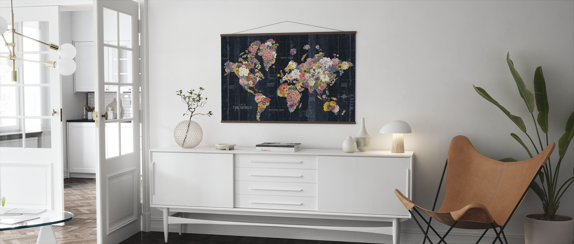 Botanical Floral Map Words - Poster - Living Room