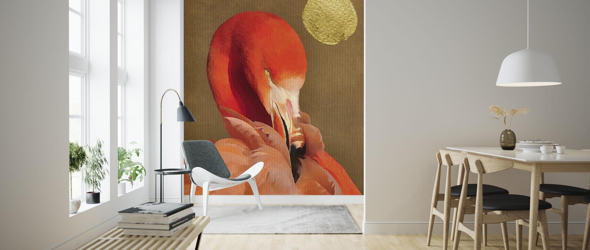 Flamingo ja kultainen aurinko - Tapetti - Olohuone