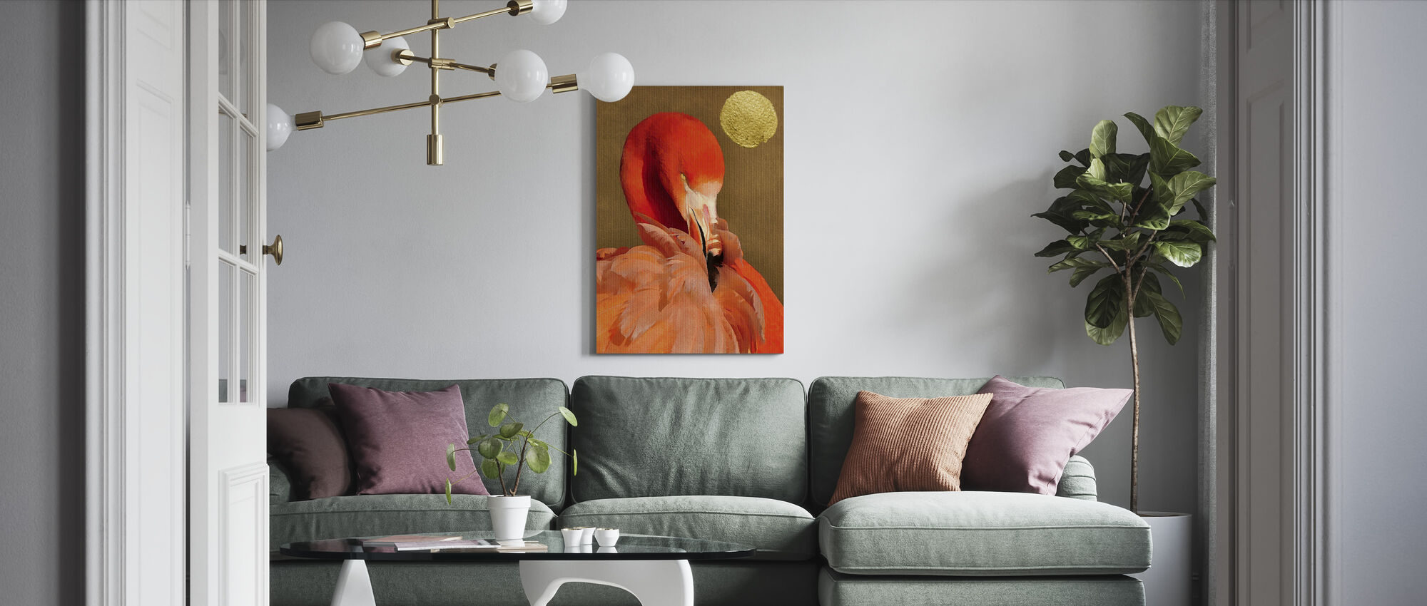 Flamingo with Golden Sun - Canvas print - Living Room