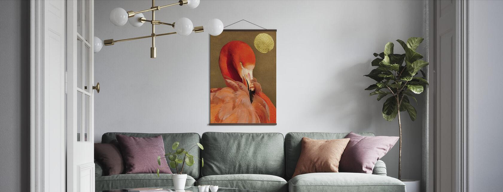Flamingo med Golden Sun - Plakat - Stue
