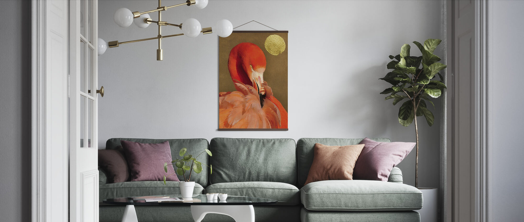 Flamingo with Golden Sun - Poster - Living Room