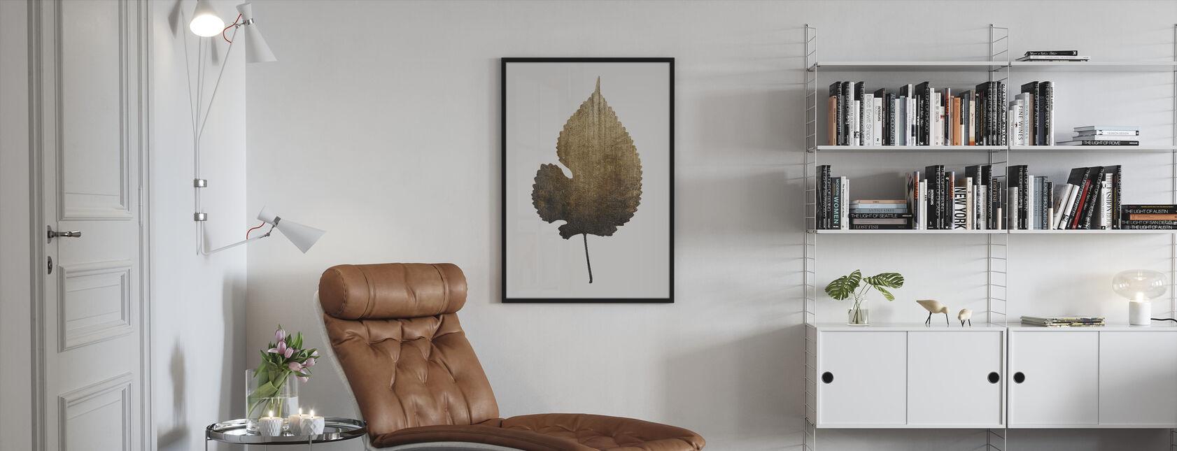 Kultainen lehti - Kehystetty kuva - Olohuone