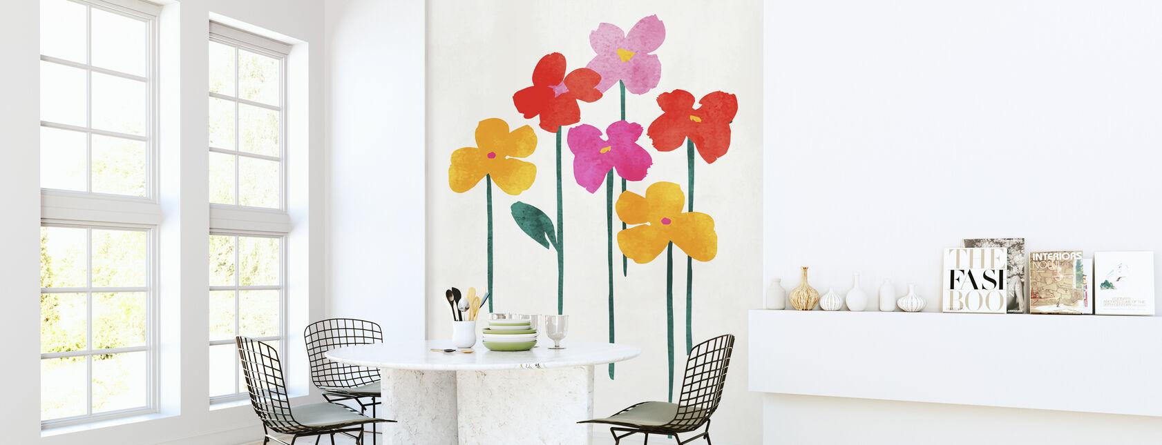 Kleine gelukkige bloemen - Behang - Keuken