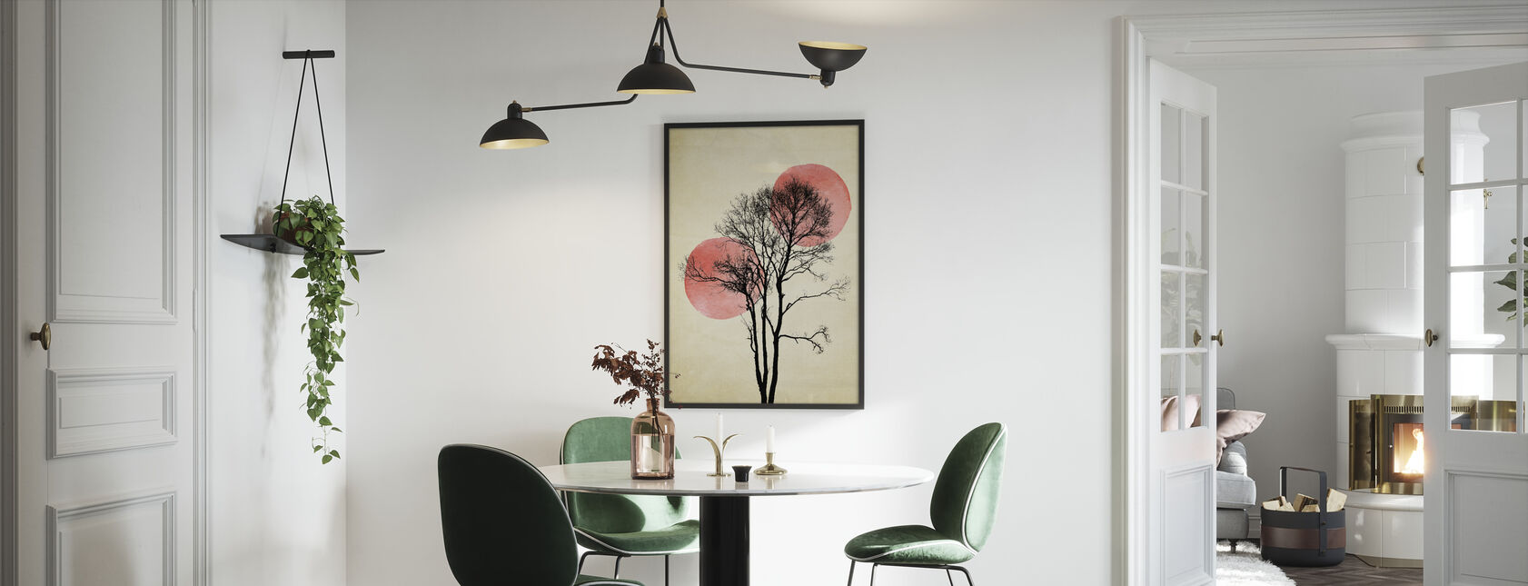 Sol og Måne Skjul - Indrammet billede - Køkken