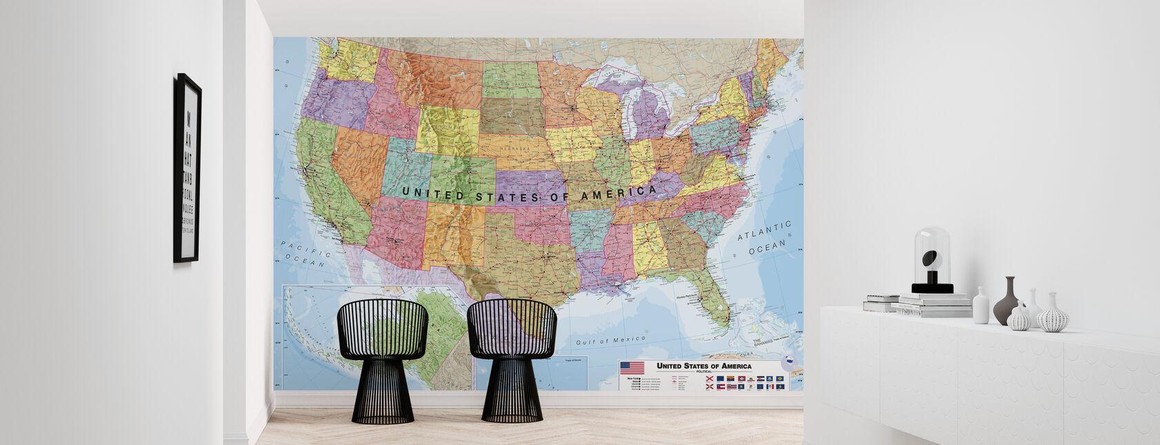 Political USA Map - Wallpaper - Hallway