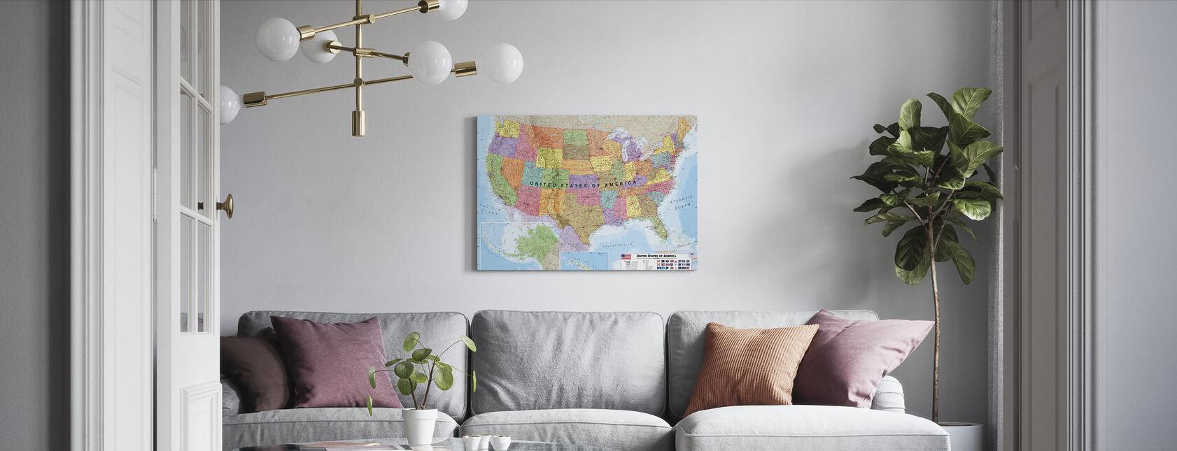 Politisk USA Kort - Billede på lærred - Stue