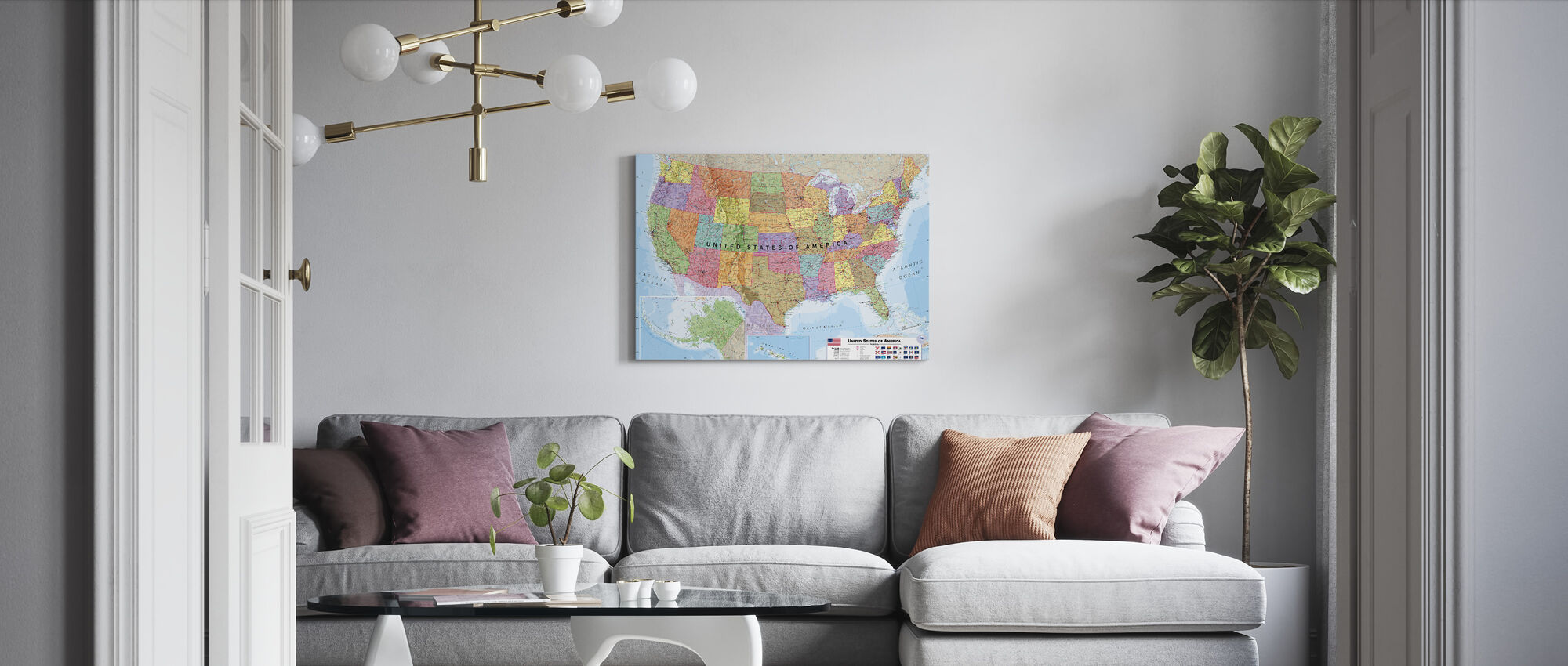 Political USA Map - Canvas print - Living Room