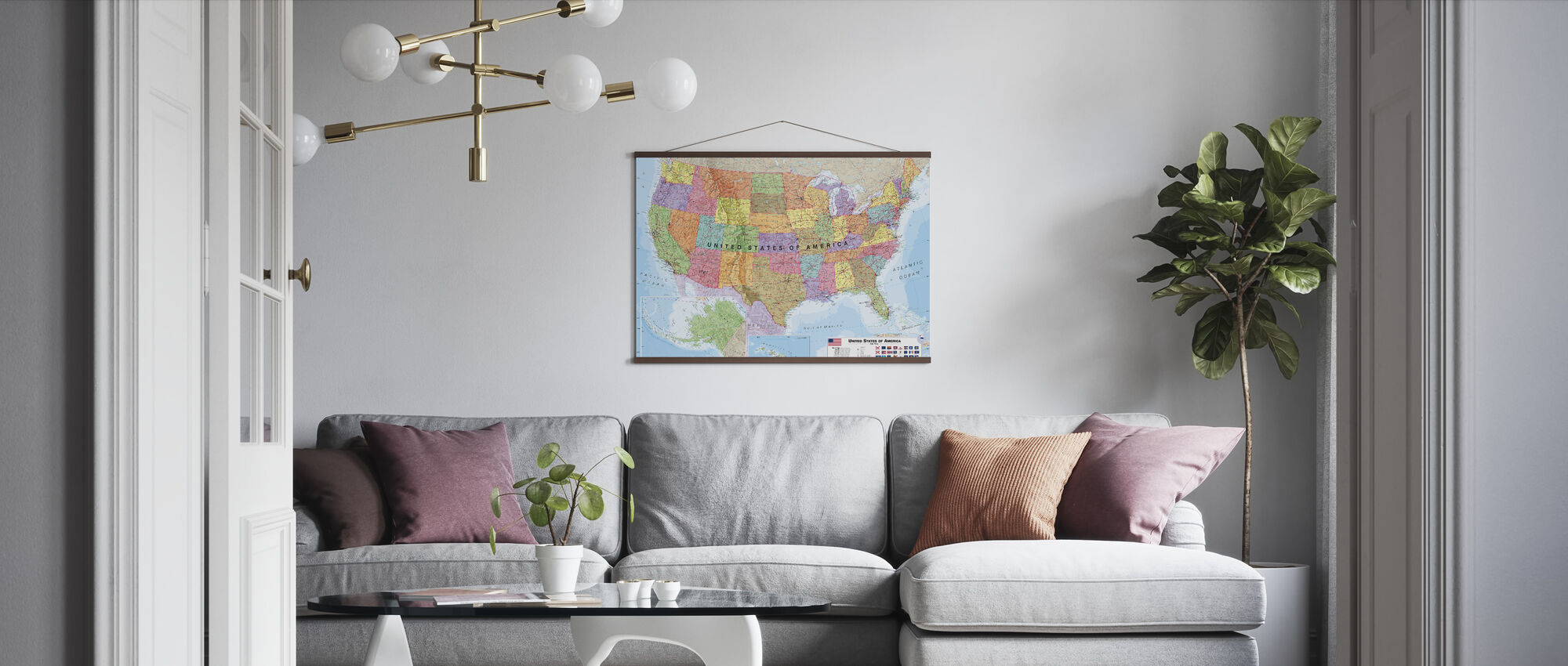 Political USA Map - Poster - Living Room