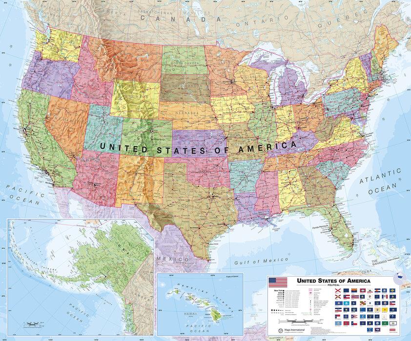 Cartina Politica Usa Da Stampare.Political Usa Map Stupisci Chi Ami Con Stampe Su Tela Photowall