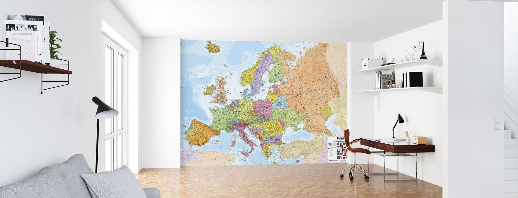 Politisk Europa Kort - Tapet - Kontor