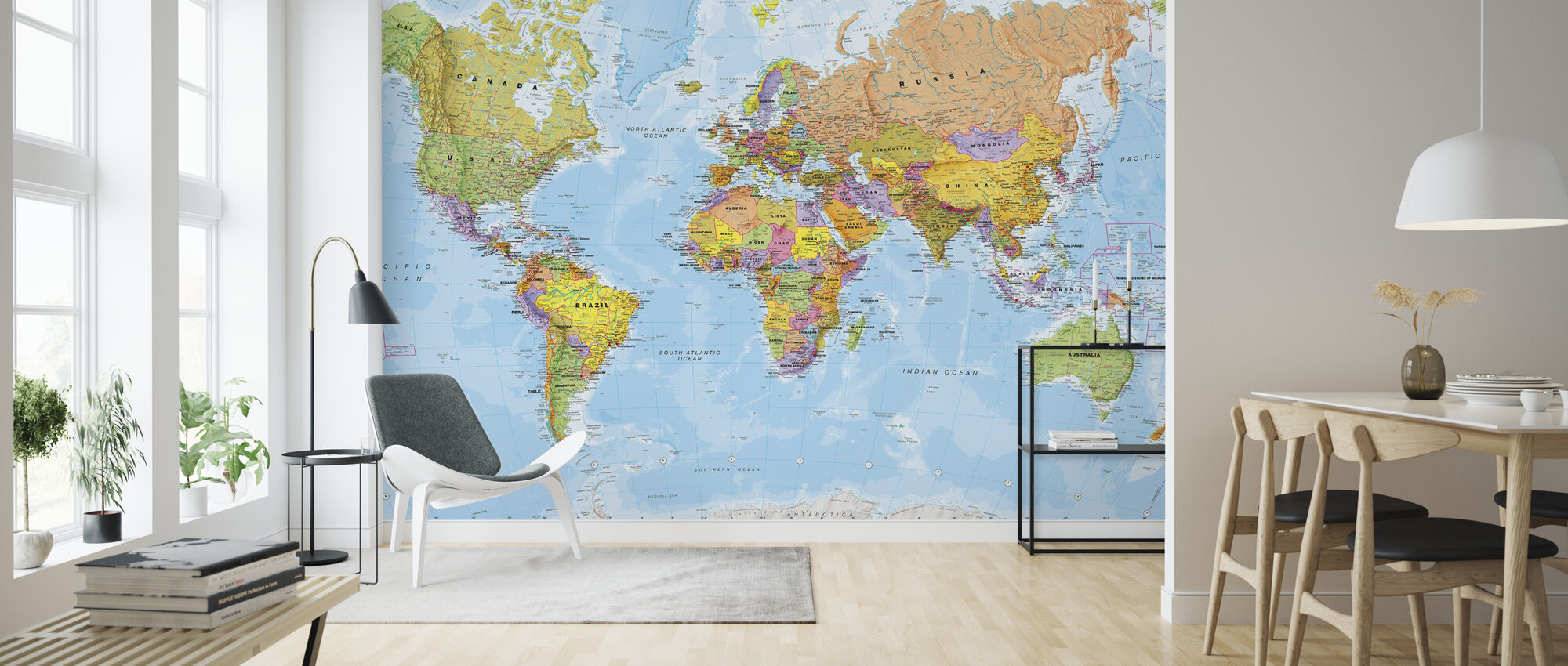 Political World Map - Wallpaper - Living Room