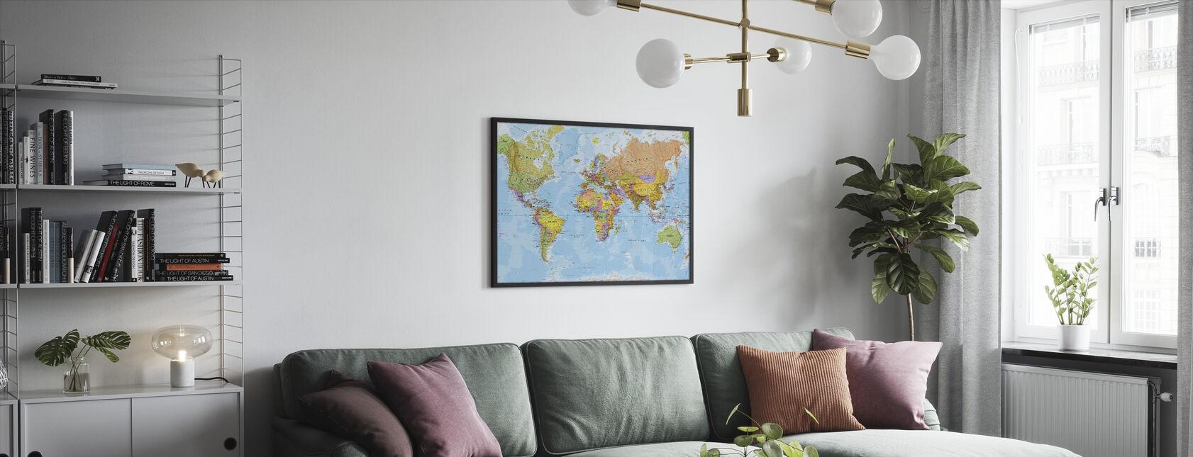 Political World Map - Framed print - Living Room