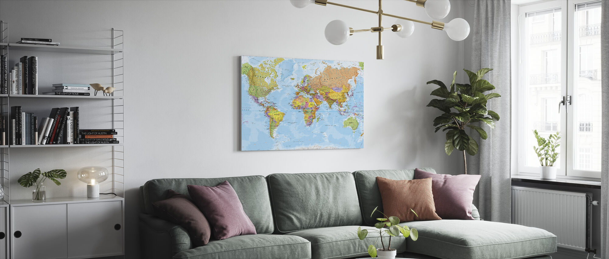 Political World Map - Canvas print - Living Room