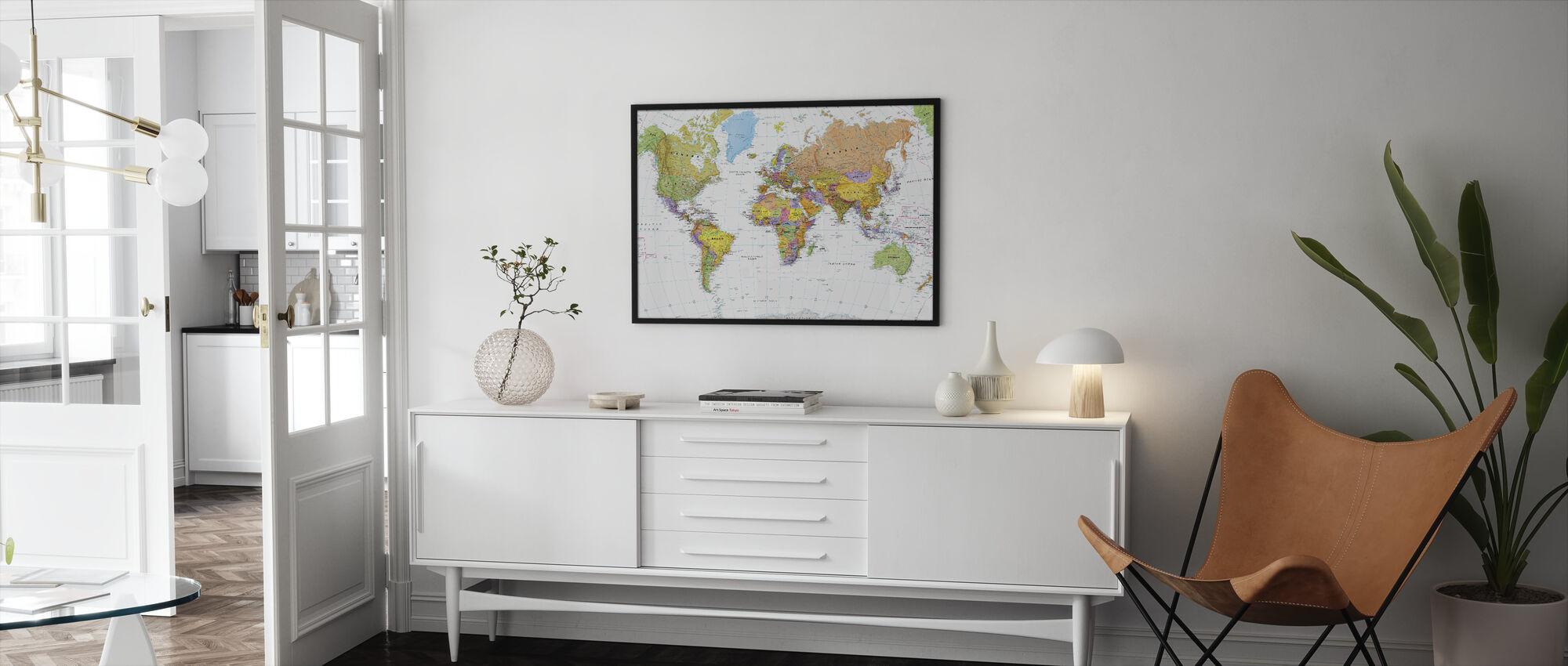 Poliittinen maailmankartta - Kehystetty kuva - Olohuone