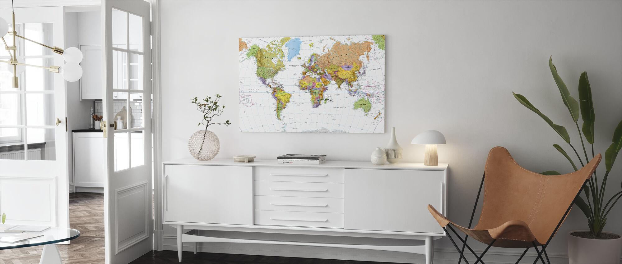 Politisk verdenskart - Lerretsbilde - Stue