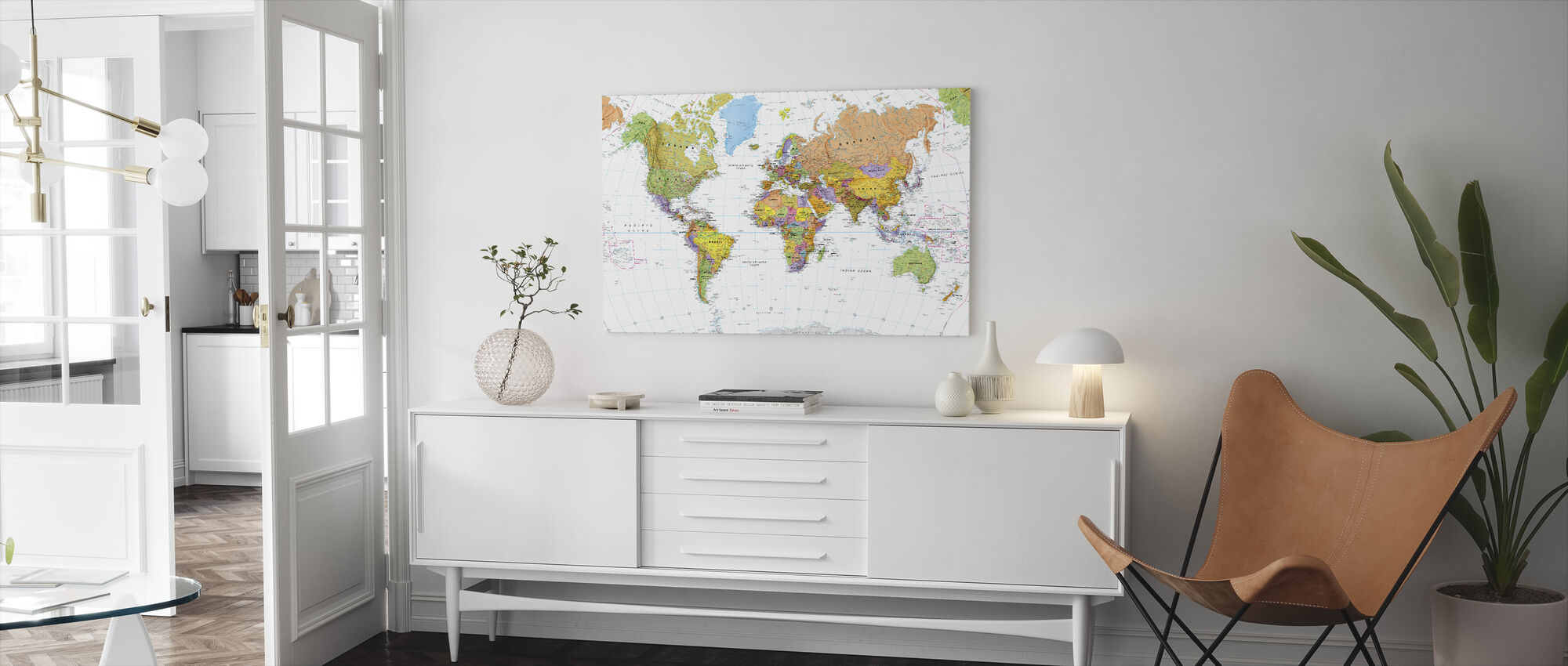 Political World Map - Canvas print - Living Room