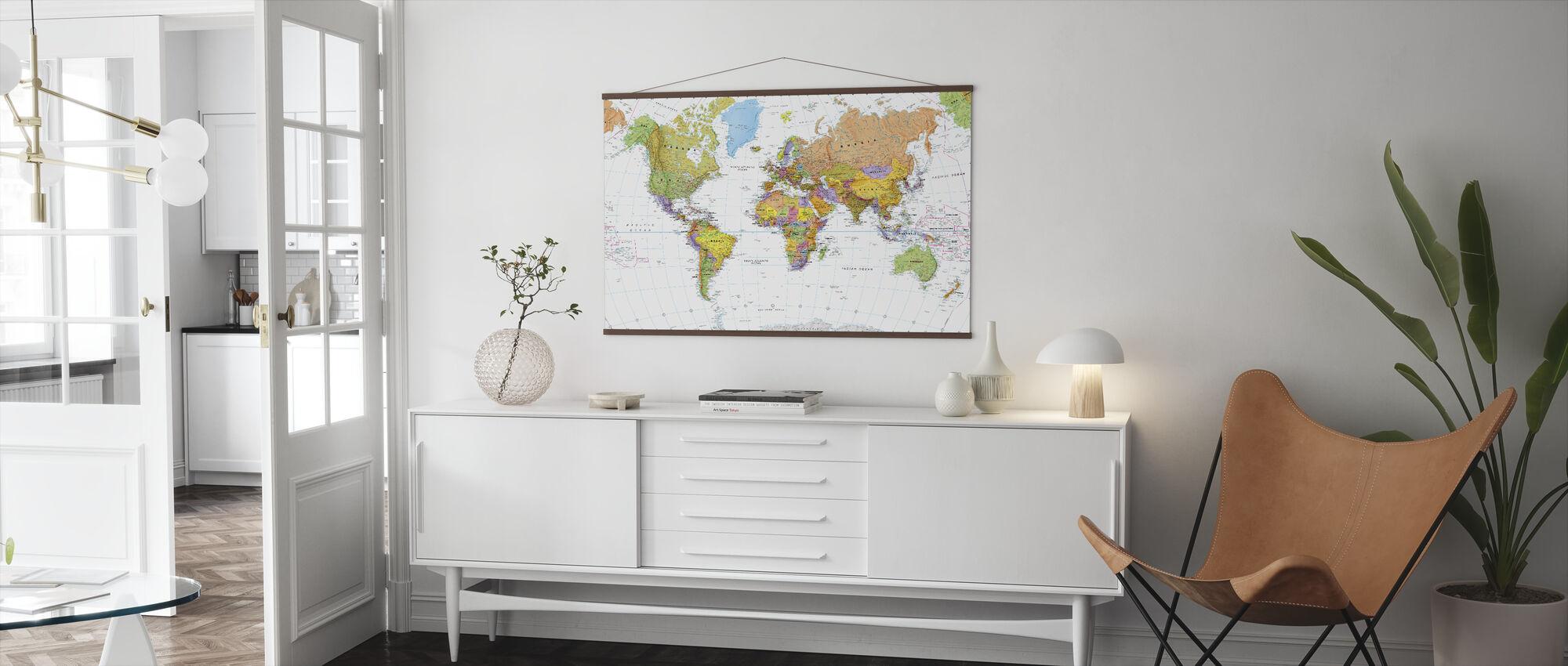 Poliittinen maailmankartta - Juliste - Olohuone
