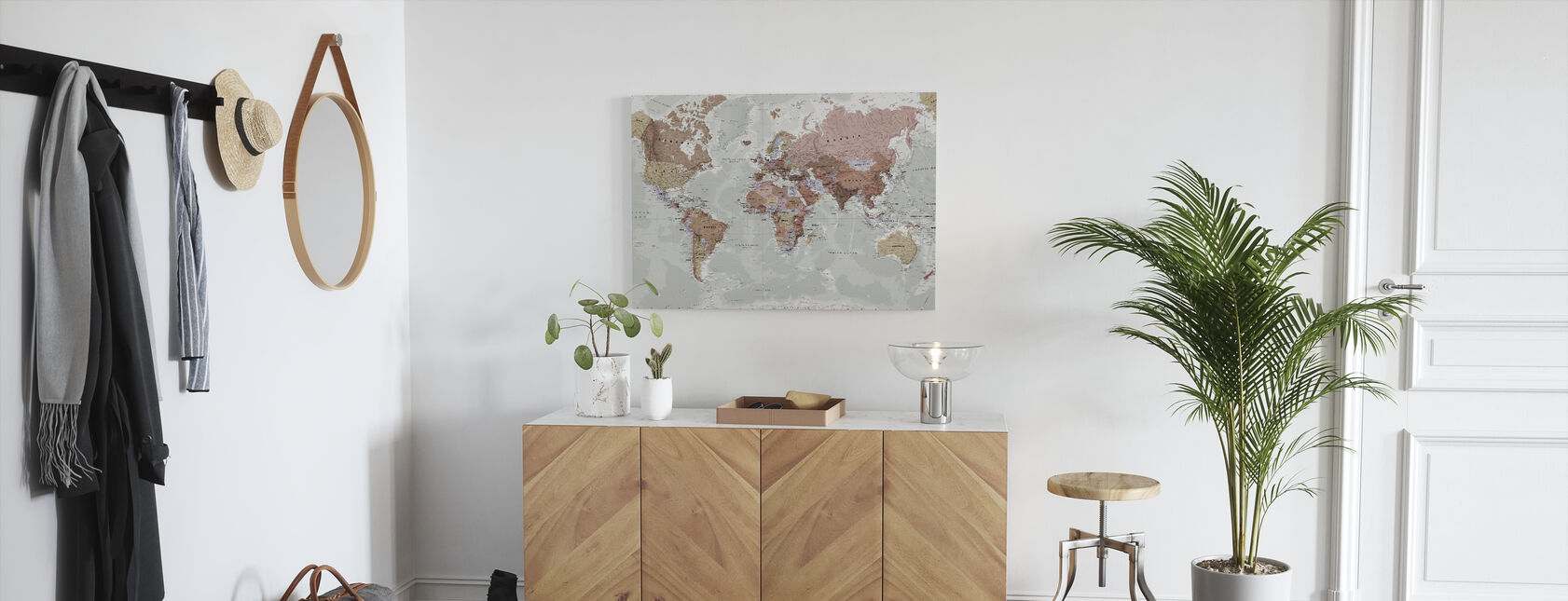 Politische Weltkarte - Leinwandbild - Flur