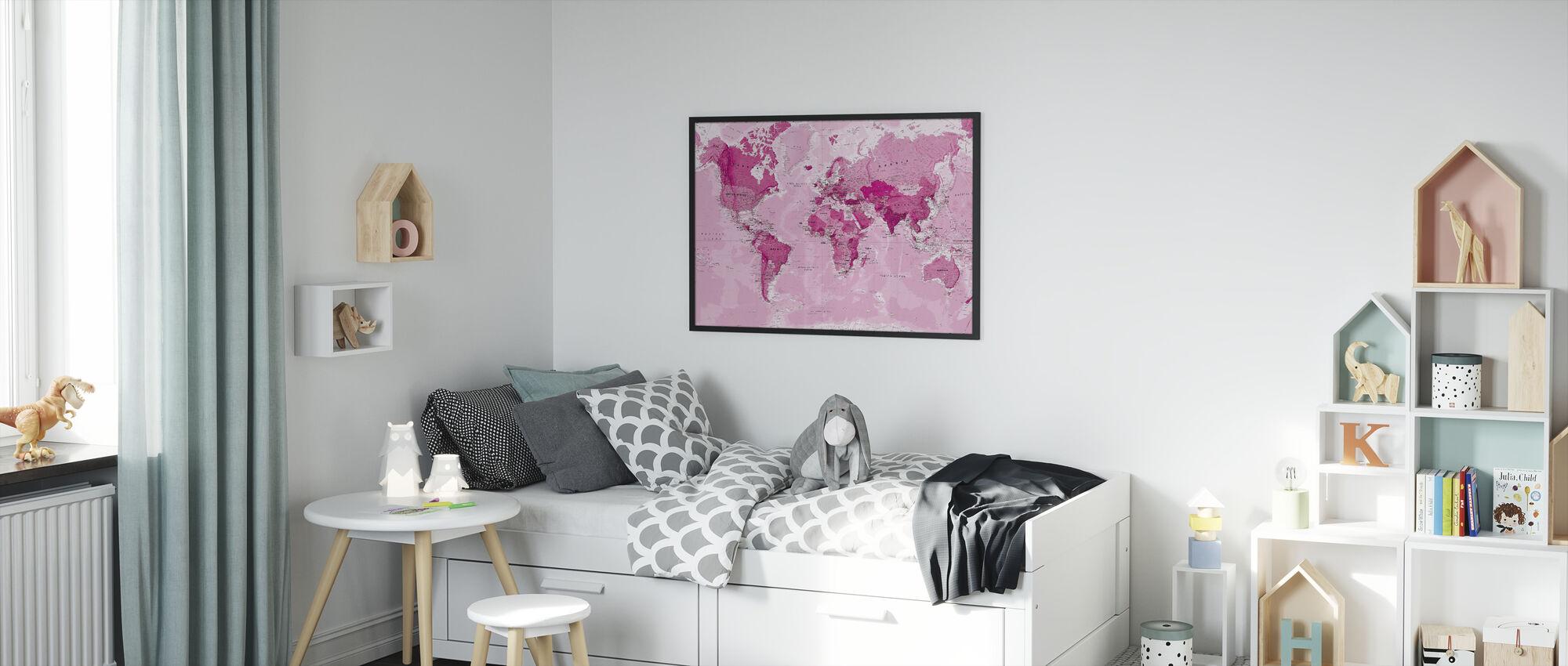 Verdenskart Rosa - Innrammet bilde - Barnerom