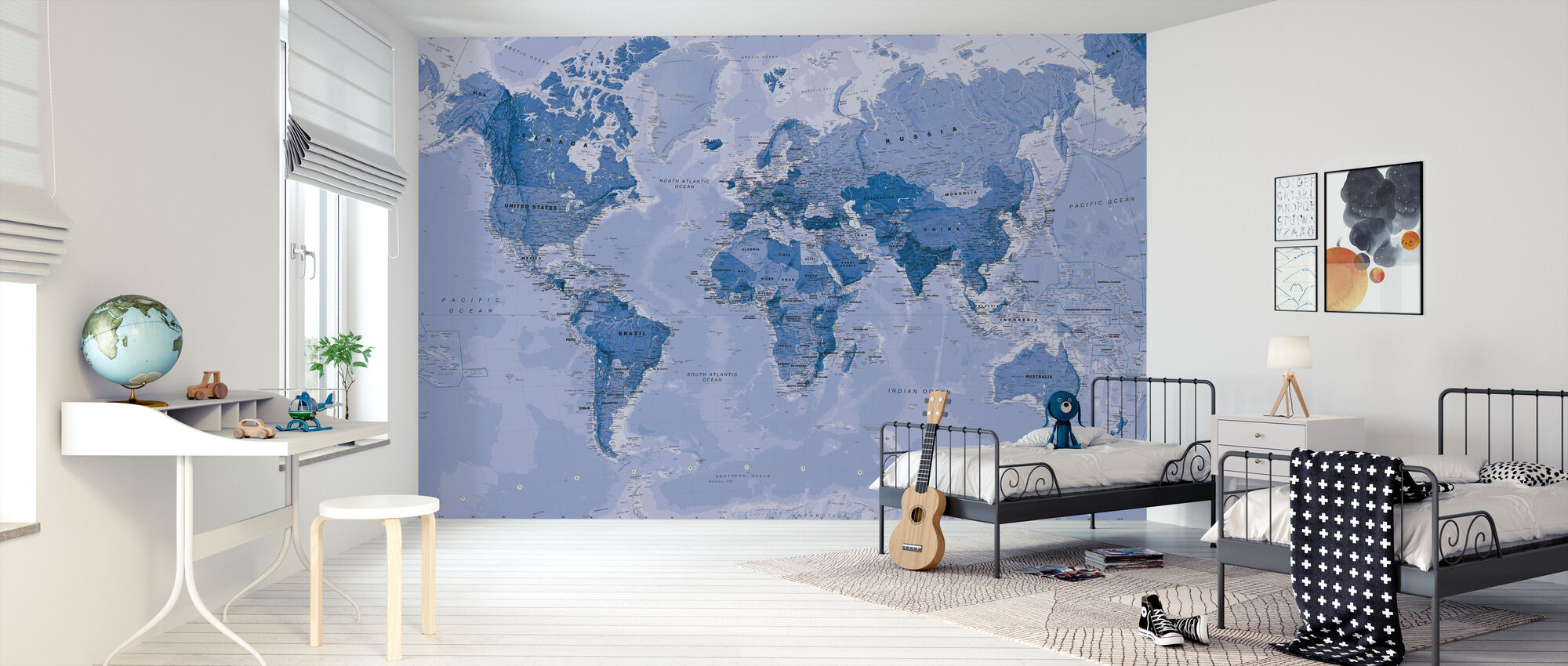 World Map Blue - Wallpaper - Kids Room