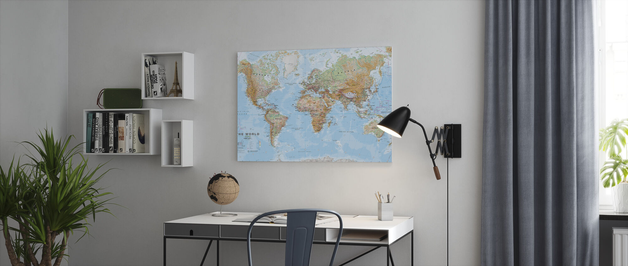 World Map Physical - Canvas print - Office