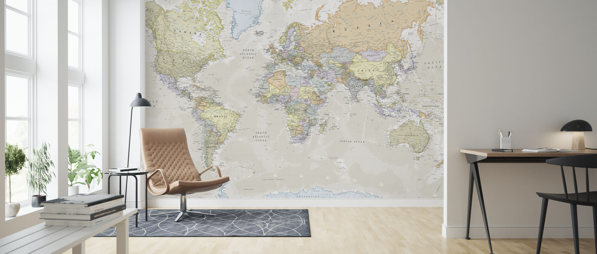 Classic World Map - Wallpaper - Living Room