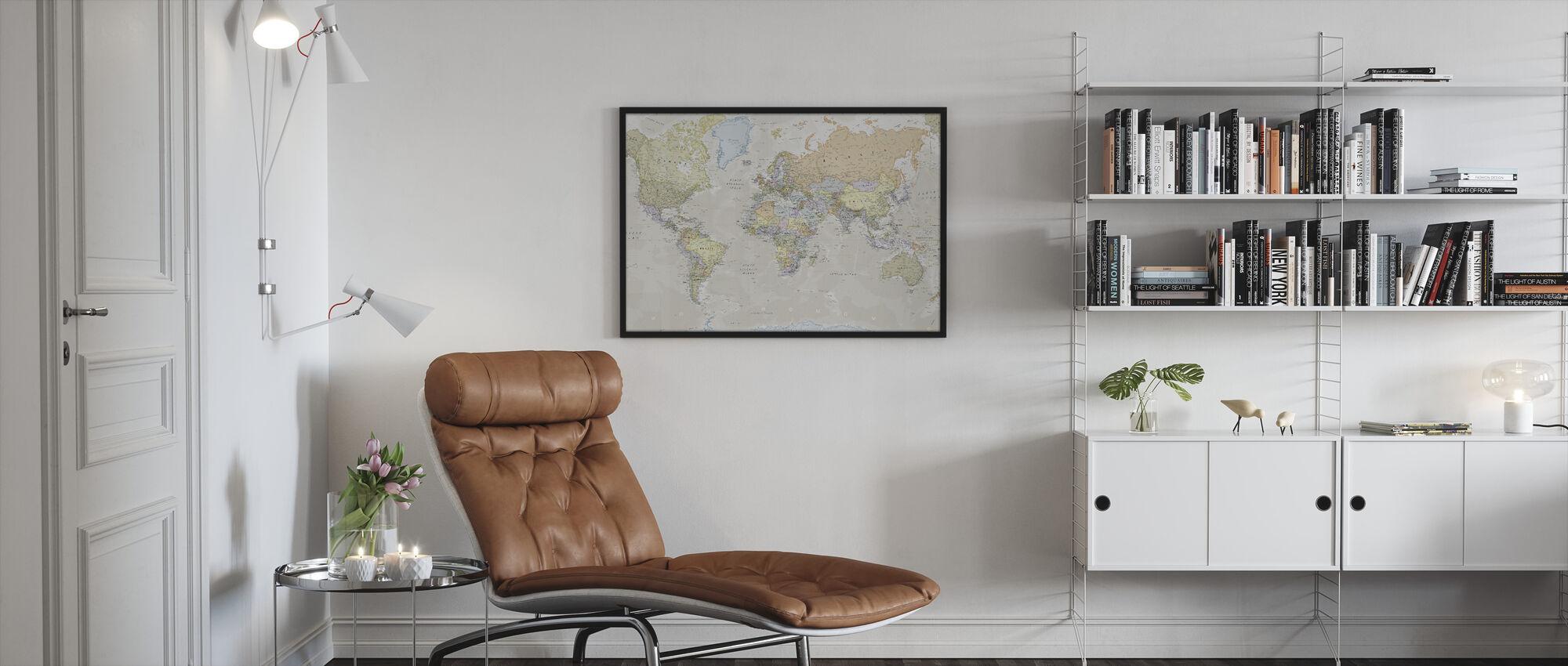 Classica Mappa del Mondo - Stampa incorniciata - Salotto