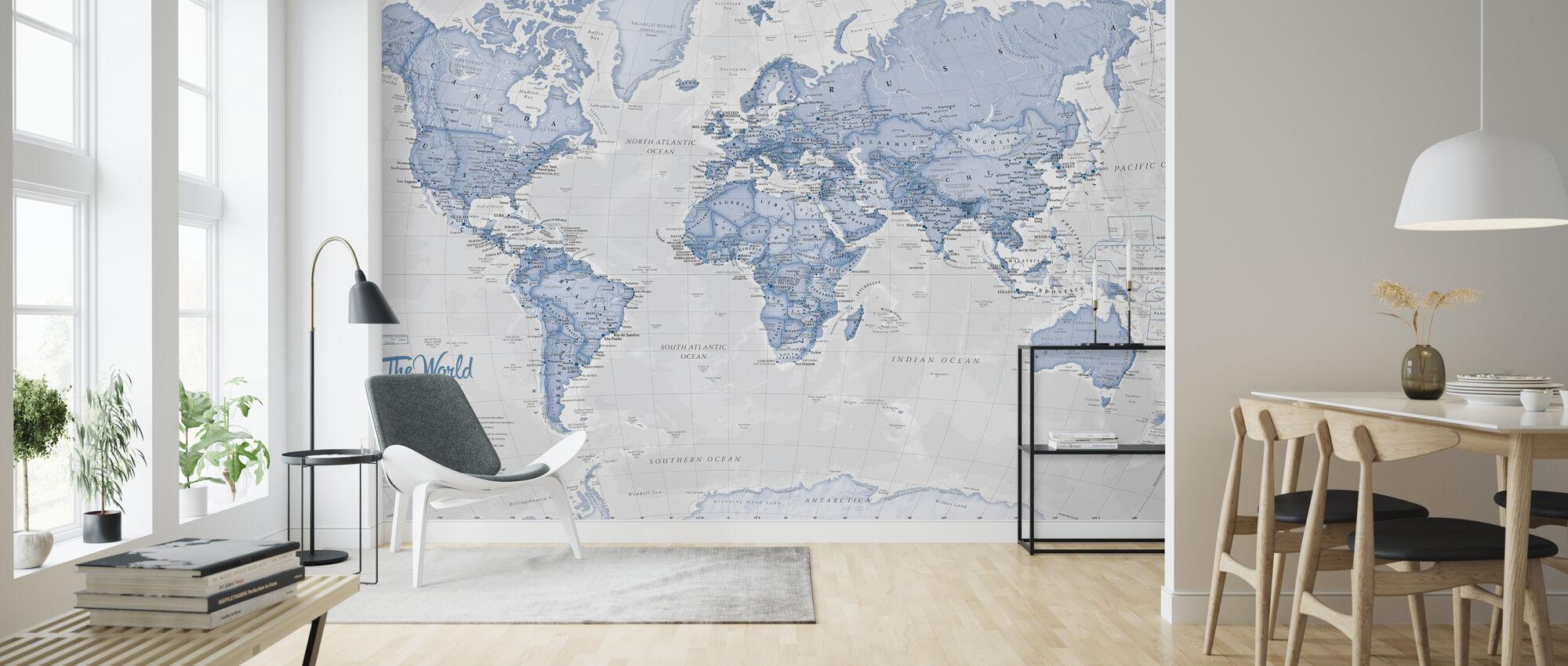 World Map Political Blue - Wallpaper - Living Room