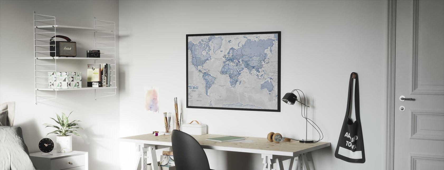 Mapa świata Niebieski polityczny - Obraz w ramie - Pokój dziecięcy